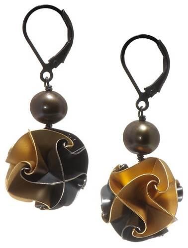 Chihiro Makio Gold, Silver &Pearl Earrings
