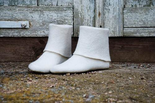 White Felted Boots