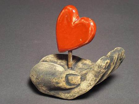 Ceramic Heart Sculpture by Cathy Broski
