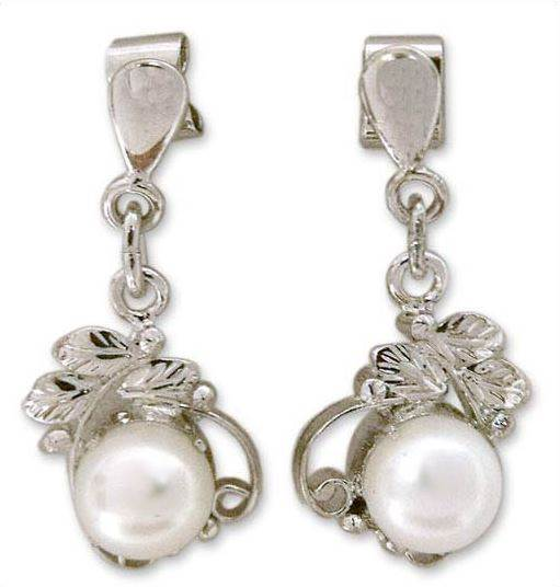 Pearl dangle earrings by Parul