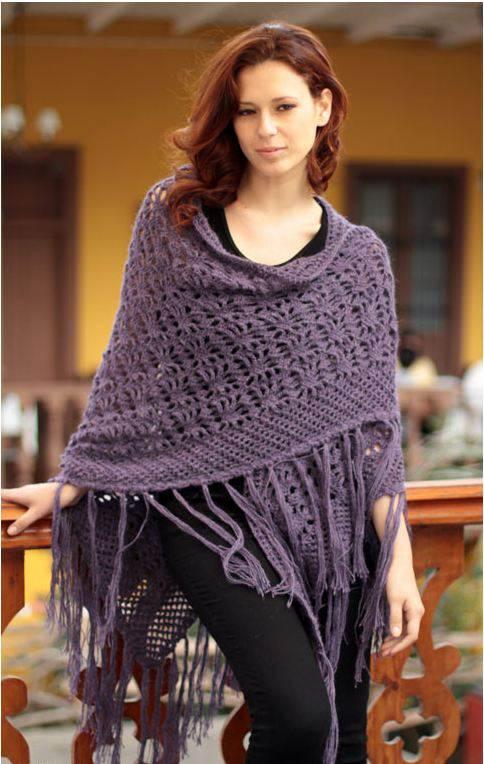 Violet Garden Handmade Alpaca Wool Shawl
