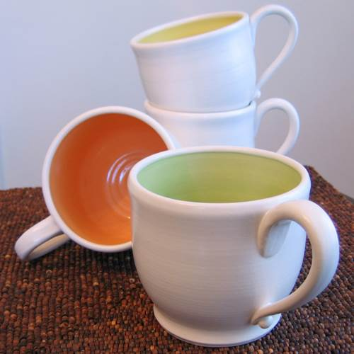 Stoneware mugs by Karin Lorenc