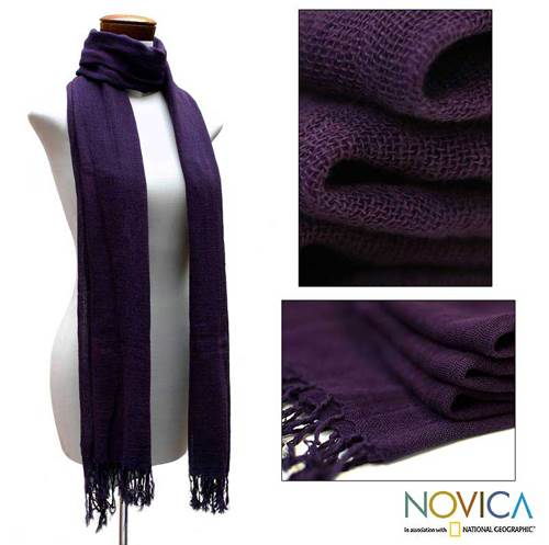 Cotton scarf Timeless Purple (Guatemala)
