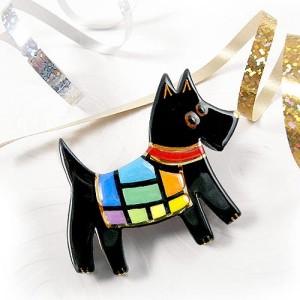 Rainbow Dog Pin in Black
