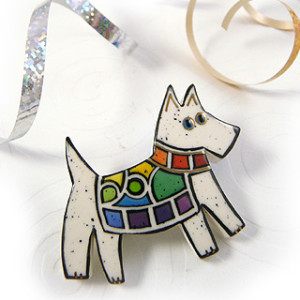Rainbow Dog Pin in White