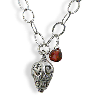 Day of the Dead Silver Pendant Necklace