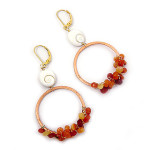 Fire and Water Copper Hoop Earrings