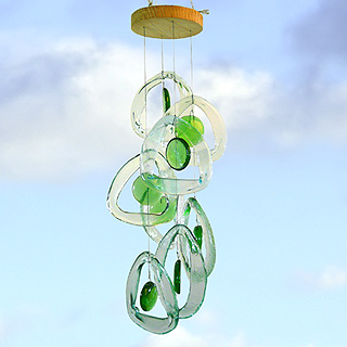 Recycled Glass Bottle Wind Chime : Emerald Spring