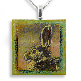 Bunny Rabbit Art Print Necklace