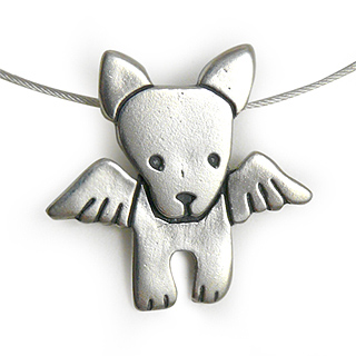 Angel Dog Sterling Silver Charm Necklace