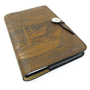 Van Gogh Boats Refillable Embossed Leather Journal
