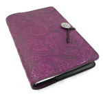 Purple Paisley Refillable Embossed Leather Journal