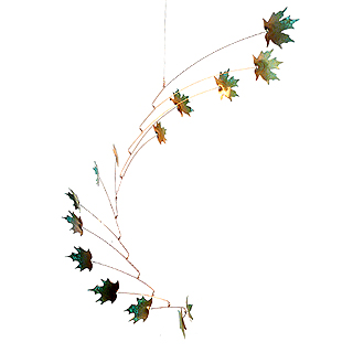 Copper Maple Leaf Indoor/Outdoor Mobile, 14-Leaf Large Version