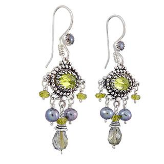 Upscale Bohemian Chandelier Earrings in Green Tourmaline