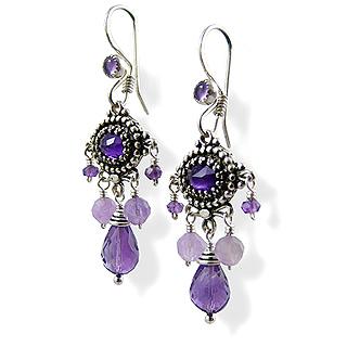 Upscale Bohemian Chandelier Earrings in Amethyst and Sterling Silver