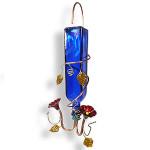 Blue Glass & Copper Hanging Hummingbird Feeder