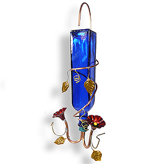 Blue Glass & Copper Hanging Hummingbird Feeder