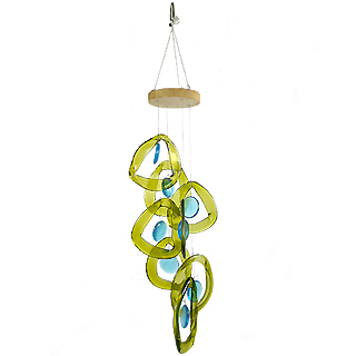 Recycled Glass Bottle Wind Chime : Aqua Drop