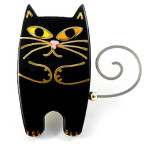 Gold and Black Ceramic Cat Pin