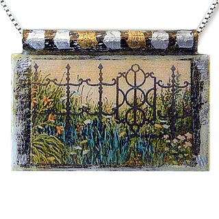 "Eco Art Print Necklace: ""Garden Gate"""