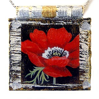 "Eco Art Print Necklace: ""Red Poppy"""