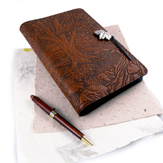 Creekside Maple Refillable Embossed Leather Journal