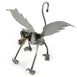 Flying Monkey Recycled Metal Garden Art Sculpture