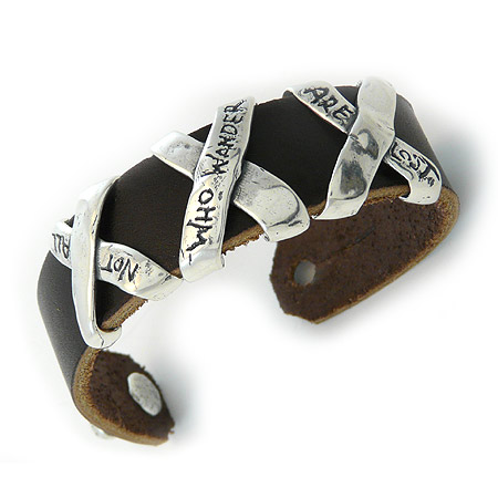 Not All Who Wander Are Lost - Leather Cuff Bracelet
