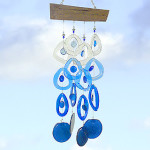Recycled Glass Bottlw Wind Chime : Glacier Blue