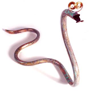 Whimsical Copper Snake Sculpture