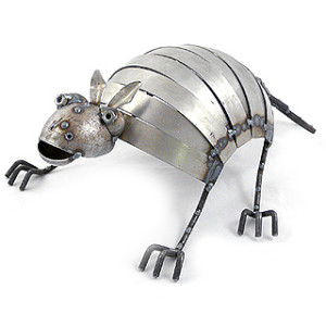 Armadillo Reclaimed Metal Garden Sculpture