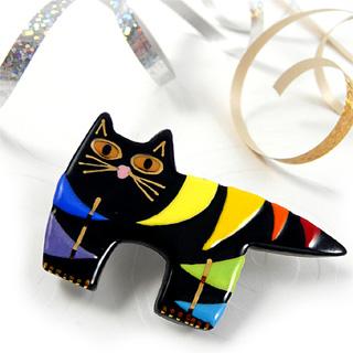 Rainbow Fat Cat Pin