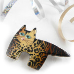 Leopard Print Fat Cat Pin