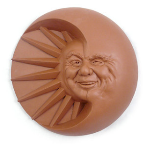 Celestial Smile Sun and Moon Garden Art Plaque