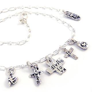 Three Crosses Charm Necklace