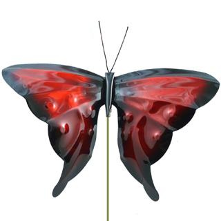 Copper Butterfly Garden Stake in Red
