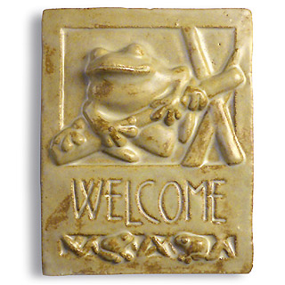 Frog Ceramic Welcome Sign