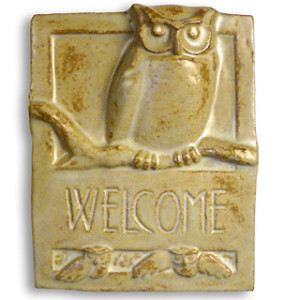 Owl Ceramic Welcome Sign