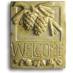 Pinecone Ceramic Welcome Sign