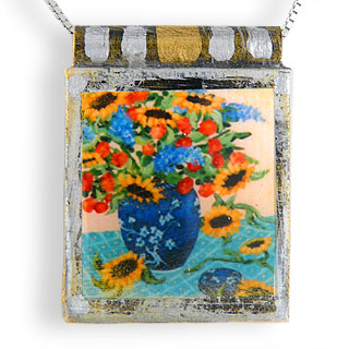"Eco Art Print Necklace: ""Sunflower Still Life"""