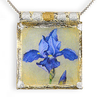 "Eco Art Print Necklace: ""Siberian Iris"""