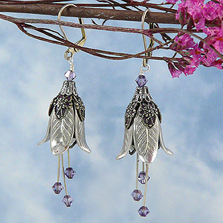 Floral Fairy Earrings : Silver Bellflower
