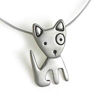 Spunky Puppy Sterling Silver Charm Necklace