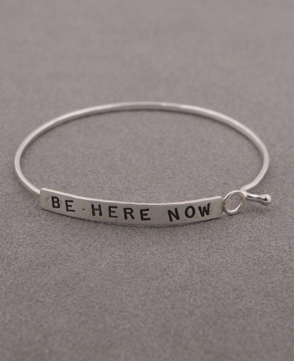 Inspirational Jewelry, Be Here Now Bracelet, Silver
