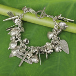 Silver charm bracelet, 'Gifts of Nature'
