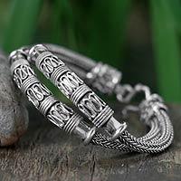 Sterling silver braided bracelet, 'Distinction'
