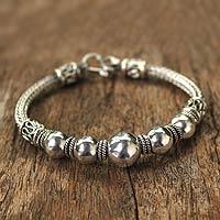 Sterling silver braided bracelet, 'Thai Moons'