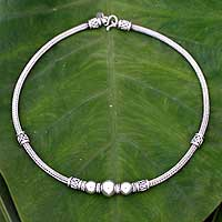 Sterling silver chain necklace, 'Tribal Dancers'
