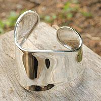 Sterling silver cuff bracelet, 'Graceful'