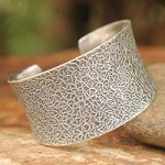 Sterling silver cuff bracelet, 'Bold Wild Nature'